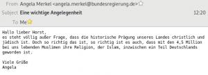 Eine E-Mail von Angela Merkel